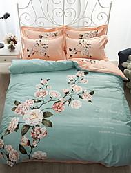 Conjunto de Capa de Edredão Floral 4 Peças Poliéster/Algodão 100% algodão Impressão Reactiva Poliéster/Algodão 100% algodão 1pç Capa de