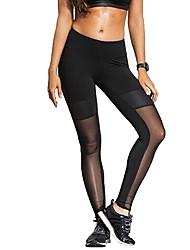 baratos -Mulheres Com Transparência Calças de Yoga Esportes Retalhos Meia-calça / Leggings Ioga, Pilates, Exercício e Atividade Física Roupas Esportivas Respirabilidade
