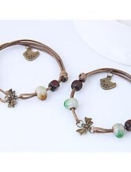 abordables -Femme Adorable Forme de Noeud Charmes pour Bracelets - Mode Ethnique Forme de Noeud Café Vert Bracelet Pour Casual