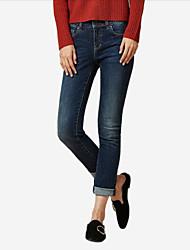economico -pantaloni jeans micro-elasticizzati normali da donna di media altezza, semplice cotone invernale primavera / autunno