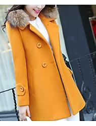 Недорогие -Жен. Большие размеры Пальто Классический-Однотонный Меховая оторочка