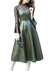 Недорогие -Жен. Оболочка Платье - Контрастных цветов, Классический Вырез под горло Средней длины