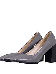 preiswerte -Damen Schuhe Leder Frühling Sommer Pumps High Heels Blockabsatz Quadratischer Zeh für Büro & Karriere Party & Festivität Schwarz Grau