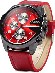 cheap -JUBAOLI Men's Casual Watch Chinese Quartz Large Dial Stainless Steel Leather Band Cool Blue Red