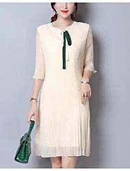 abordables -Femme Grandes Tailles Ample Robe Couleur Pleine Col en V Mi-long
