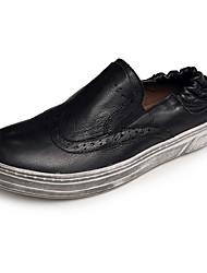 Homens sapatos Pele Pele Napa Inverno Outono Conforto Mocassins e Slip-Ons para Casual Branco Preto