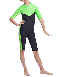 cheap -Girls' Boho Color Block Swimwear, Polyester Nylon Spandex Half Sleeves Green Orange