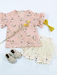 preiswerte -Mädchen Alltag Blumen T-Shirt, Baumwolle Leinen Bambusfaser Acryl Frühling Kurzarm Retro Weiß Rosa