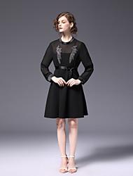 cheap -FRMZ Women's Plus Size Slim A Line Little Black Dress - Solid Colored Beaded