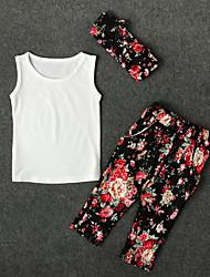 billige -Pige Daglig Blomstret Tøjsæt, Bomuld Polyester Forår Sommer Uden ærmer Sødt Aktiv Hvid