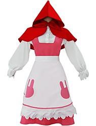 baratos -Inspirado por KARNEVAL Connor Chapeuzinho Vermelho Anime Fantasias de Cosplay Ternos de Cosplay Sólido Manga Longa Peitilho Camisa Saia