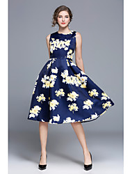 economico -Per donna Vintage Taglia piccola Linea A Fodero Vestito - Con stampe, Fantasia floreale Al ginocchio Vita alta