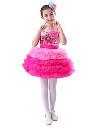 abordables -Ballet Vestidos Rendimiento Poliéster Diseño / Estampado Cristales / Rhinestones A Capas Sin Mangas Cintura Alta Vestido