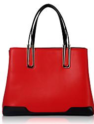 baratos -Mulheres Bolsas Couro de Gado Tote Ziper para Festa/Eventos Casual Todas as Estações Branco Preto Vermelho