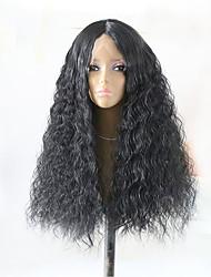 economico -Capelli sintetici Parrucche Riccio Attaccatura dei capelli naturale Lace frontale Parrucca naturale Lungo Nero