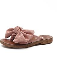 cheap -Women's Shoes PU Summer Comfort Slippers & Flip-Flops Flat Heel Open Toe Bowknot for Casual Black Yellow Green Light Pink