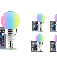 cheap -5pcs 5W 400lm E14 E26 / E27 LED Globe Bulbs 5 LED Beads SMD Dimmable Decorative Remote-Controlled RGB 85-265V
