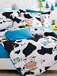 cheap -Duvet Cover Sets Cartoon 3 Piece Poly/Cotton Reactive Print Poly/Cotton 1pc Duvet Cover 1pc Sham 1pc Fitted Sheet