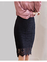 cheap -Women's Going out Street chic Plus Size Pencil Skirts - Solid Colored, Lace High Waist