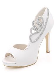 Mulheres Sapatos Cetim Primavera Verão Plataforma Básica Sapatos De Casamento Salto Agulha Peep Toe Pedrarias para Casamento Festas &