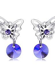 abordables -Mujer Cristal Pendientes con clip - Cristal, Plateado Mariposa Moda, Elegante Morado Para Fiesta / Noche / Formal