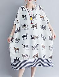 baratos -Mulheres Moda de Rua Solto Solto Vestido Animal Acima do Joelho