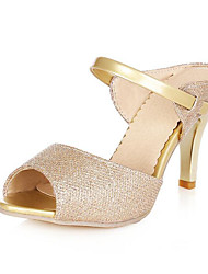 cheap -Women's Shoes PU Spring Summer Basic Pump Comfort Sandals Stiletto Heel for Casual Gold White