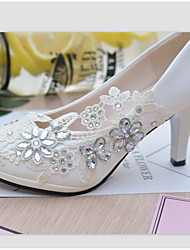 cheap -Women's Shoes Lace Leatherette Spring Fall Slingback Wedding Shoes Stiletto Heel Round Toe Rhinestone Imitation Pearl Appliques Sparkling
