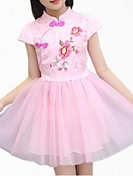 abordables -Robe Fille de Quotidien Fleur Coton Polyester Printemps Eté Manches Courtes simple Mignon Blanc Rose Claire