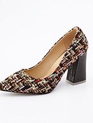 baratos -Mulheres Sapatos Tecido Primavera Outono MaryJane Saltos Salto Carretel Dedo Apontado para Escritório e Carreira Festas & Noite Preto Bege