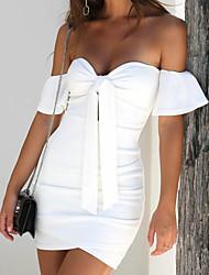 baratos -Mulheres Para Noite Básico Delgado Tubinho Bainha Vestido Côr Sólida Sem Alças Ombro a Ombro Acima do Joelho Branco