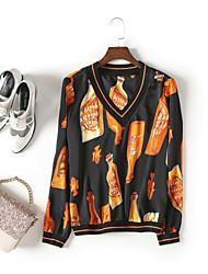 economico -T-shirt Per donna Moda città Con stampe,Fantasia geometrica Monocolore