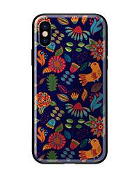 Недорогие -Кейс для Назначение Apple iPhone X iPhone 8 С узором Кейс на заднюю панель Цветы Животное Твердый Закаленное стекло для iPhone X iPhone 8
