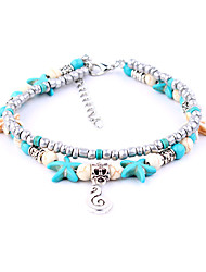 cheap -Turquoise Anklet - Silver Plated Music Notes Bohemian, Bikini Turquoise For Date / Going out / Women's