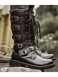 Недорогие -Муж. обувь Полиуретан Зима Осень Армейские ботинки Удобная обувь Ботинки Сапоги до середины икры для Повседневные Черный