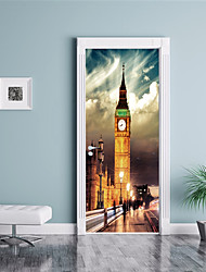 cheap -Famous Scenic Wall Stickers Plane Wall Stickers 3D Wall Stickers Decorative Wall Stickers Door Stickers, Vinyl Paper Home Decoration Wall
