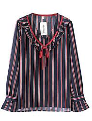 preiswerte -Damen Solide Bluse Baumwolle Leinen