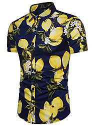 cheap -Men's Business Cotton Shirt - Floral Lemon