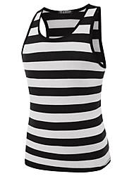 cheap -Men's Street chic Cotton Slim Tank Top - Striped Round Neck / Sleeveless