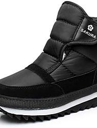 baratos -Mulheres Sapatos Camurça / Lona Outono / Inverno Botas Cowboy / Country / Botas de Neve Botas Sem Salto Botas Curtas / Ankle Preto