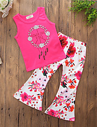 cheap -Girls' Daily Going out Floral Clothing Set, Cotton Polyester Summer Sleeveless Simple Casual Fuchsia