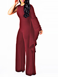 cheap -Women's Plus Size Club / Going out Slim Jumpsuit - Solid Colored, Basic High Waist Wide Leg