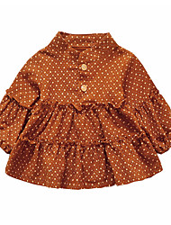 cheap -Girl's Daily Polka Dot Dress, Polyester Spring Long Sleeves Vintage Brown Blushing Pink Yellow Light Blue
