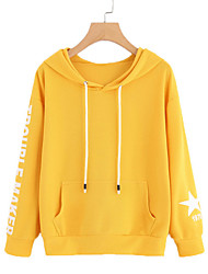 cheap -Women's Cute Cotton Loose Hoodie - Solid Colored Letter