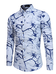 cheap -Men's Business Cotton Slim Shirt Print