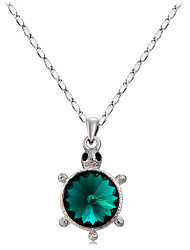 cheap -Women's Synthetic Emerald Pendant Necklace  -  Crystal, Silver Plated Turtle, Animal Fashion Dark Green Necklace For Daily, Formal