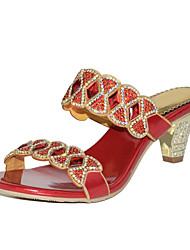 baratos -Mulheres Sapatos Poliuretano Primavera / Verão Botas da Moda Sandálias Salto Robusto Dedo Aberto Pedrarias / Cristais / Gliter com Brilho