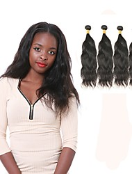 economico -4 pacchi Peruviano Onda naturale Capello integro Ciocche a onde capelli veri Tessiture capelli umani Estensioni dei capelli umani