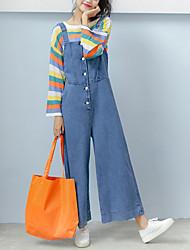 economico -Per donna Oversized Tuta da lavoro Jeans Pantaloni - Tinta unita