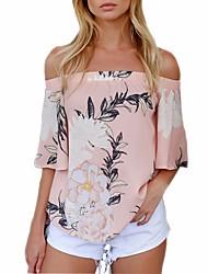 baratos -Mulheres Blusa Estilo vintage Floral, Floral Decote Canoa Folha tropical